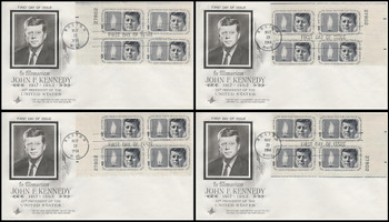 1246 / 5c Kennedy Memorial Set of All Four Matching Plate Block Corners 1964 Artcraft FDCs