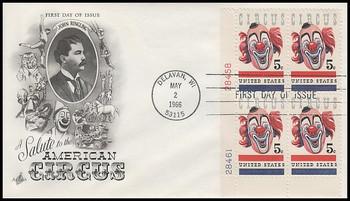 1309 / 5c American Circus : Clown Plate Block 1966 Artcraft FDC