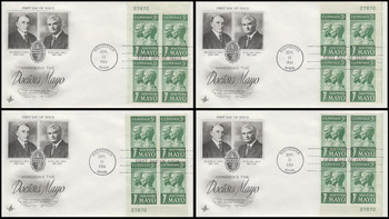 1251 / 5c Doctors Mayo Set of All Four Matching Plate Block Corners 1964 Artcraft FDCs