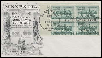 0981 / 3c Minnesota Territory / 100th Anniversary Plate Block 1949 Aristocrat - Lowry First Day Cover