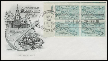 0984 / 3c Annapolis Maryland : 300th Anniversary Plate Block 1949 Artmaster First Day Cover