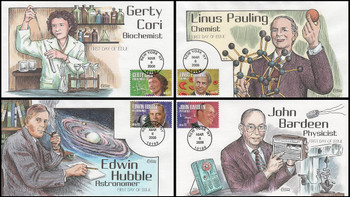 4224 - 4227 / 42c American Scientist Set of 4 Collins Hand-Painted 2008 First Day Covers