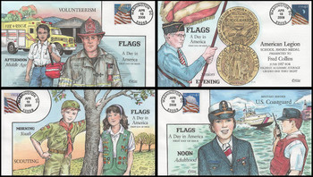 4228 - 4231 / 42c Flags 24/7 Coils Set of 4 Collins Hand-Painted 2008 First Day Covers