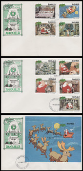 453 - 462 / 1c - $5 Disney : The Night Before Christmas Set of 3 Anguilla 1981 FDCs (Small Spot On 1st FDC)