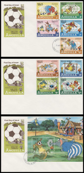 492 - 501 / 1c - $5 Disney : World Cup Soccer España '82 Set of 3 Anguilla 1982 First Day Covers