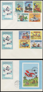 562 - 571 / 1c - $4 Disney : Transportation Set of 3 Antigua 1980 First Day Covers