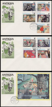 592 - 601 / 1c - $4 Disney : Sleeping Beauty Christmas Set of 3 Antigua 1980 First Day Covers