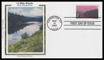 C144 / 72c 13 Mile Woods - New Hampshire : Airmail Colorano Silk 2008 First Day Cover