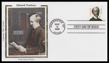 3432a / 76c Edward Trudeau : Distinguished Americans Series Colorano Silk 2008 FDC