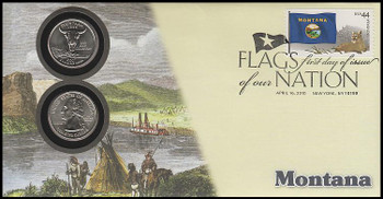 4304 / 42c Flags Of Our Nation : Montana State Quarter Coin Fleetwood 2010 First Day Cover