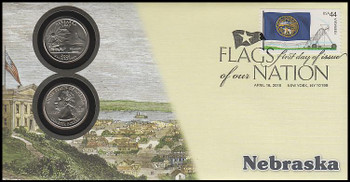 4305 / 42c Flags Of Our Nation : Nebraska State Quarter Coin Fleetwood 2010 First Day Cover