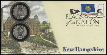 4307 / 42c Flags Of Our Nation : New Hampshire State Quarter Coin Fleetwood 2010 First Day Cover
