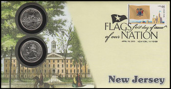 4308 / 42c Flags Of Our Nation : New Jersey State Quarter Coin Fleetwood 2010 First Day Cover