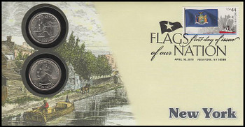 4310 / 42c Flags Of Our Nation : New York State Quarter Coin Fleetwood 2010 First Day Cover