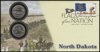 4312 / 42c Flags Of Our Nation : North Dakota State Quarter Coin Fleetwood 2010 First Day Cover