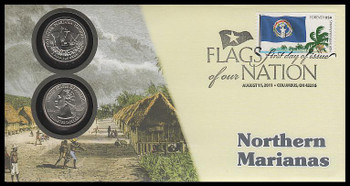 4313 / 42c Flags Of Our Nation : North Marianas State Quarter Coin Fleetwood 2011 First Day Cover