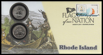 4319 / 42c Flags Of Our Nation : Rhode Island State Quarter Coin Fleetwood 2011 First Day Cover