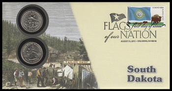 4321 / 42c Flags Of Our Nation : South Dakota State Quarter Coin Fleetwood 2011 First Day Cover