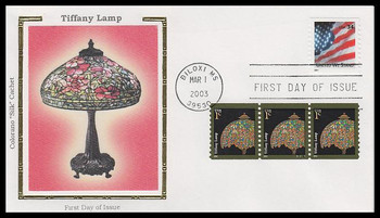 3758 / 1c Tiffany Lamp Coil Strip of 4 with PNC Colorano Silk 2003 FDC