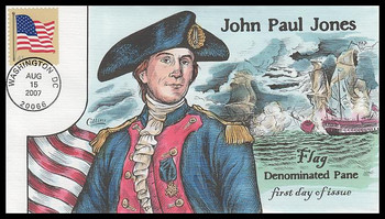 4190 / 41c US Flag Convertible Bklt of 10 Single 2007 Collins Hand-Painted FDC