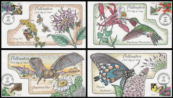 4153 - 4156 / 41c Pollination Set of 4 Collins Hand-Painted 2007 FDC