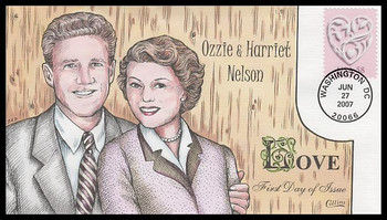 4152 / 58c Wedding Hearts : Romantic Couples of the World: Ozzie & Harriet Nelson Collins Hand-Painted 2007 FDC