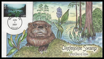 C142 / 69c Okefenokee Swamp Airmail Stamp 2007 Collins Hand-Painted FDC