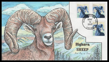 4138 / 17c Bighorn Sheep 2007 Collins Hand-Painted FDC