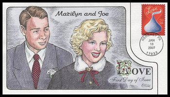 4122 / 39c Love : Hershey's Kiss : Romantic Couples of the World: Marilyn Monroe & Joe DiMaggio 2007 Collins Hand-Painted FDC