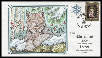 4100 / Lynx : Christmas Wildlife Series 2006 Collins Hand-Painted FDC