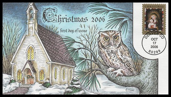 4100 / 39c Chacón Madonna and Child with Bird : Traditional Christmas Series 2006 Collins Hand-Painted FDC