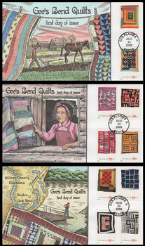 4089 - 4098 / 39c Gee's Bend Quilts All Ten Stamps On Three 2006 Collins Hand-Painted FDC