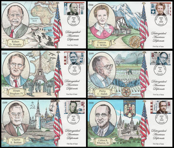 4076 a - f / 39c Distinguished American Diplomats Set of 6 Collins Hand-Painted 2006 FDC