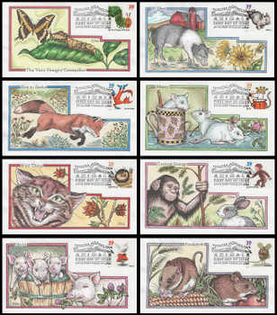 3987 - 3994 / 39c Favorite Children's Book Animals Set of 8 Collins Hand-Painted 2006 FDCs