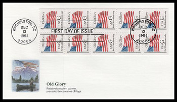 2883a / G - Rate ( 32c ) Old Glory Bklt Pane of 10 Fleetwood 1994 FDC