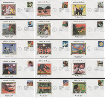 3191a-o / 33c Celebrate The Century ( CTC ) 1990s Set of 15 Colorano Silk 2000 FDCs