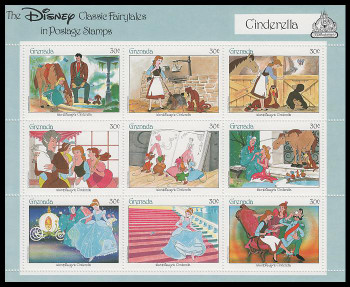 1542 / 30c Cinderella Disney Classic Fairytales 1987 Grenada Souvenir Sheet of 9 MNH VF with Certificate
