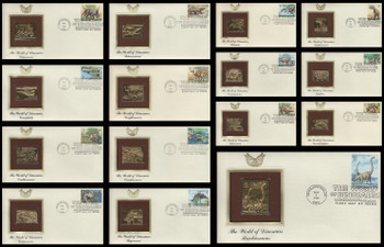 3136a-o / 32c World of Dinosaurs Set of 15 Gold Replica Postal Commemorative Society 1997 FDCs with Info Cards