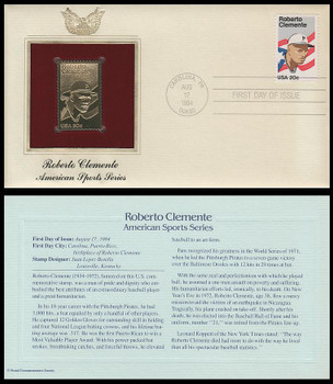 2097 / 20c Roberto Clemente Baseball Great : American Sports Series 1984 Gold Replica Postal Commemorative Society FDC with Info Card