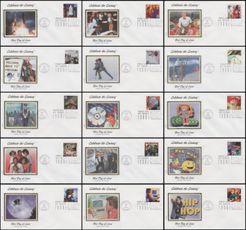 3190a-o / 33c Celebrate The Century ( CTC ) 1980s Set of 15 Colorano Silk 2000 First Day Covers