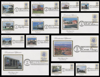 3930 / 37c Presidential Libraries Set of 13 Different Postmarks 2005 Colorano Silk FDCs
