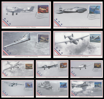 3916 - 3925 / 37c Advances in Aviation ( Oshkosh, WI Postmark ) Set of 10 Mystic 2005 First Day Covers
