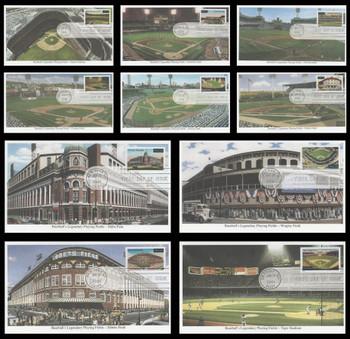 3510 - 3519 / 34c Legendary Major League Baseball Playing Fields Set of 10 New York, NY Postmark 2001 Mystic FDCs