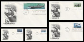3373 - 3377 / 22c - $3.20 U.S. Navy Submarines Centennial 2000 Set of 5 Artcraft FDCs