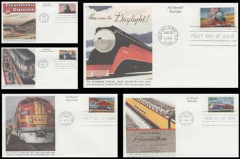3333 - 3337 / 33c All Aboard Twentieth Century Trains Set of 5 Mystic 1999 FDCs