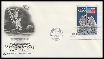 2419 / $2.40 Moon Landing Priority Mail Artcraft 1989 First Day Cover