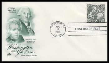 2592 / $5 1869 Essay : Washington and Jackson Sideways Stamp Artcraft 1994 FDC
