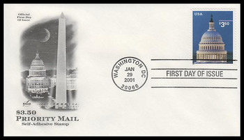 3472 / $3.50 Capitol Dome Priority Mail 2001 Artcraft FDC