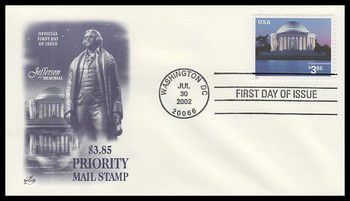 3647 / $3.85 Jefferson Memorial Priority Mail PSA 2002 Artcraft First Day Cover