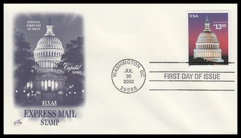 3648 / $13.65 U.S. Capitol Express Mail PSA 2002 Artcraft First Day Cover
